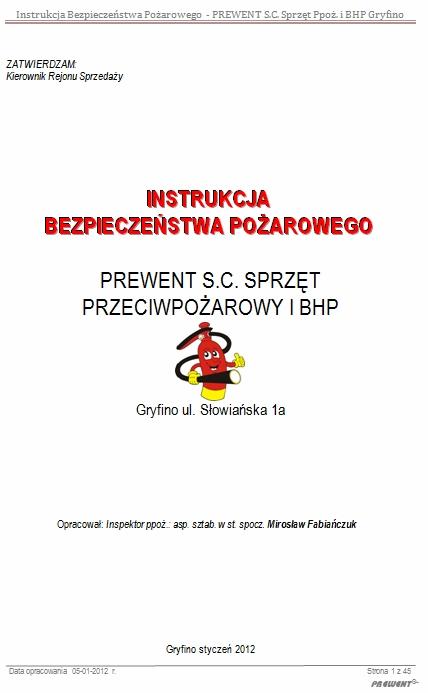 aktualizacja instrukcji bezpieczeństwa pożarowego wzór